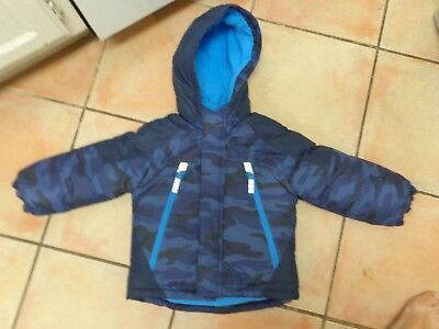 Carter's blue camo boys 4T toddler winter padded hooded snow jacket parka