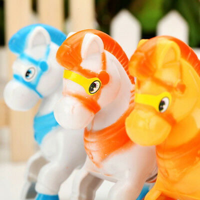 NEW WindUp Animal Running Moving Horse ClassicClockwork Plastic Kid Toy Gift UQ