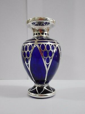Art Deco Cobalt Blue Glass Vase With Silver Overlay Decoration