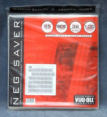Vue-All #8013 35Mm Negative Sleeves, Side Load, 6 Strips Of 6, 100 Pages - Nos