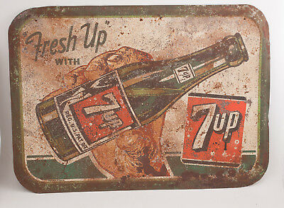 Fresh Up With 7-Up Embossed Metal Sign 27x19.5 Rusty & Beat Up