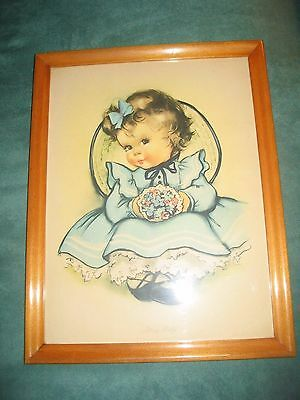 "Darling 1940s nursery lithograph ""Sitting Pretty"" signed Herbert Dubler Inc."