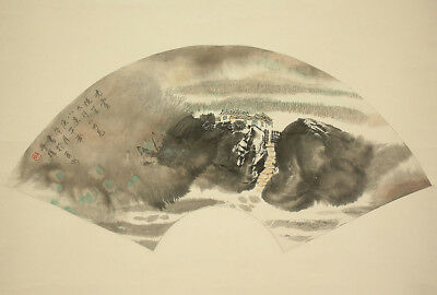 "Chinese Big Hanging Scroll : 王学輝 ""Fan Surface~Country House Scenery""  @z831"