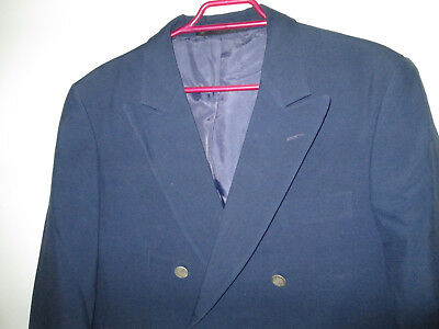 Mens Fletcher Jones Size 99 R Wool Blend Suit Jacket Blazer Blue Gold Buttons