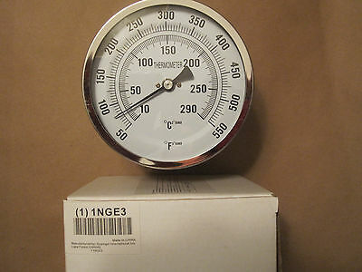 "1NGE3 Bimetal Thermometer 5"" Dial 50 to 550F - Stainless Steel - Great Quality"