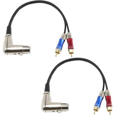 2x 90° XLR Female to Dual RCA Male Stereo Splitter Plug Adapter Audio Cable