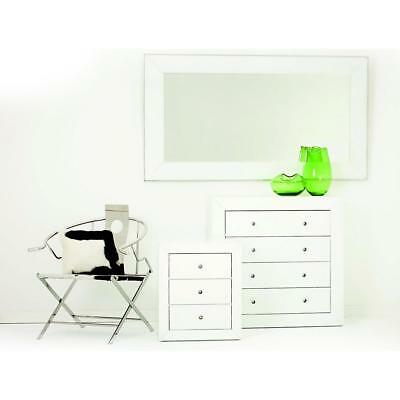 NEW Auvergne Super White Glass 3 Drawer Bedside Luxury Mirrors