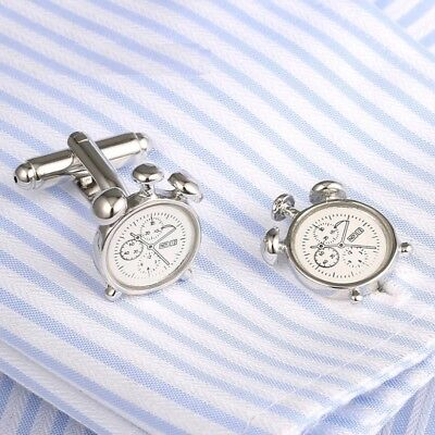 Men's Novelty Alarm Clock Cufflinks Wedding Shirt Cuff Links Party Gift
