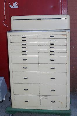 Antique A TWENTY-TWO DRAWER Painted Wood DENTAL DENTIST CABINET Art Deco