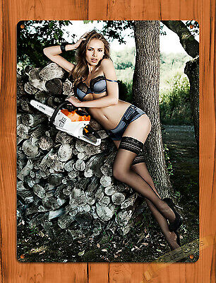 "TIN SIGN ""Stihl Calendar Girl"" Vintage Rustic Wall Decor"