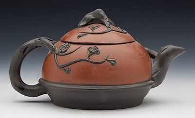 Vintage Chinese Yixing Trailing Twig Design Dual Colour Teapot 20Th C