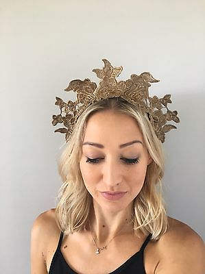 Gold Rose Lace Fascinator Crown Headband Headpiece