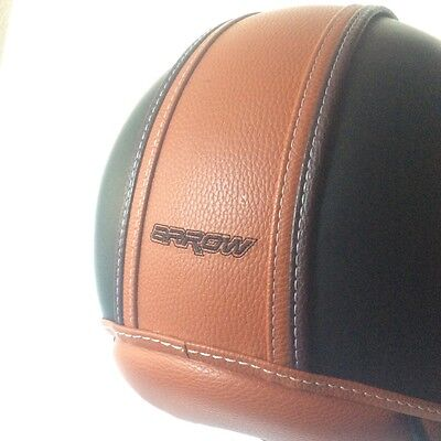ARROW AV-84 vintage deluxe motorbike scooter cafe racer helmet black, leather