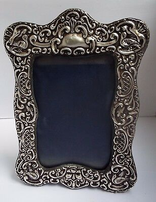 Fine Large Decorative English Antique 1904 Solid Sterling Silver Photo Frame