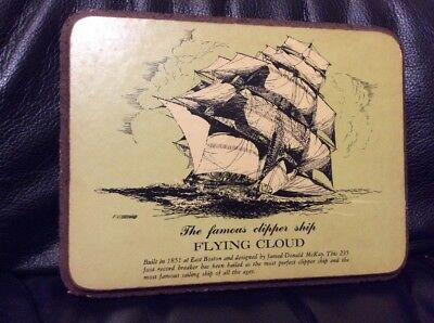 Vintage 19th Clipper Ship Flying Cloud Plaque - F.O. Braynard - Free Shipping