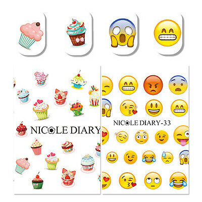 2x Nail Art Water Decals Transfer Stickers Cake Dessert Facial Expression