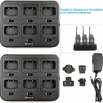 2pcs 6-Way Charger Retevis RTC777 for Retevis H777/Baofeng 888S 2- Way Radios