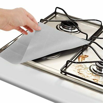 4Pcs Gas Range Stove Burner Protector Liner Cleaning Cover Kitchen Tool Reusable