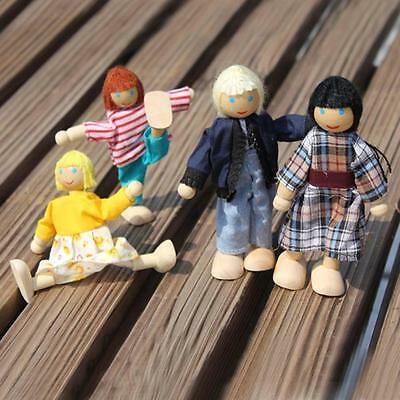 4 Cute Doll Wooden House Family People Set Kid Children Pretend Play Toy Gift RG