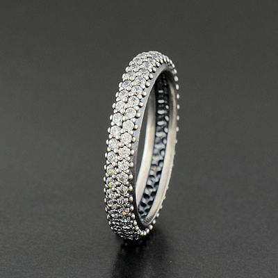 Genuine Authentic Pandora Silver Sparkling Zirconia Curve Ring 190909Cz Size 52