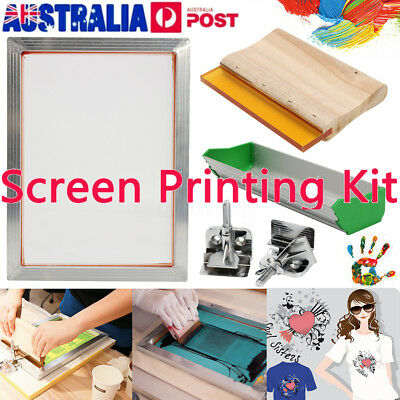 5Pcs/Set SCREEN PRINTING KIT Aluminum Frame+Hinge Clamp+Emulsion Coater+Squeegee