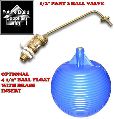 "1/2"" Part 2 High Pressure Brass Ball Valve Ball Cock Water Tank Plastic Float"