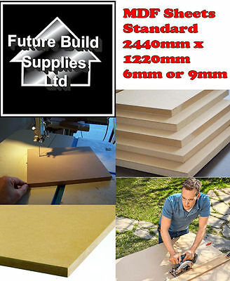 MDF Sheets Medium Density Fibreboard Standard 2440mm x 1220mm 6mm & 9mm Thick