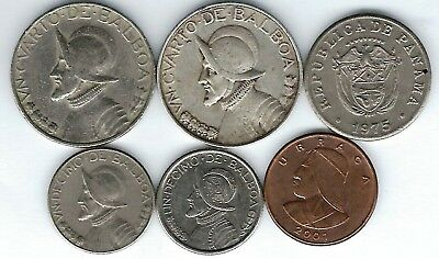 6 different world coins from PANAMA