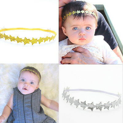 Baby/Girl Toddler Gold/Silver Star Elastic Stretch Party Headband Hairband UK