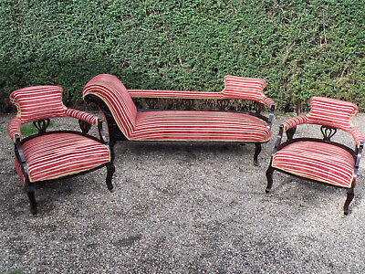 ANTIQUE 3 Pce SALON SUITE CHAISE & 2 TUB CHAIRS REGENCY STRIPED