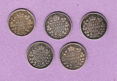 Lot of Five -  5 Cents Silver Coins - 1902 1903 1906 1907 1910 - Edward VII