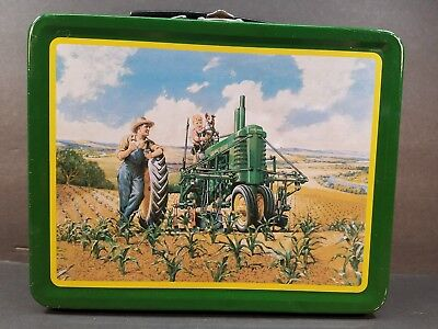 """John Deere Mini Tractor Lunch Pail 7.5"""" × 6"""" Lunchtime Tin Item 22001"""