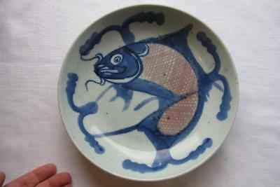 Antique Chinese Qing Porcelain Fish Plate - Blue & White Carp