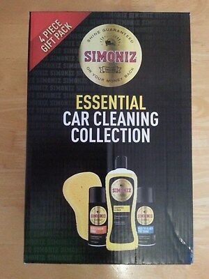 Simoniz Car Cleaning Gift Pack Kit Set Shampoo Wax Tyre Dash Shine Sponge 4 Pack