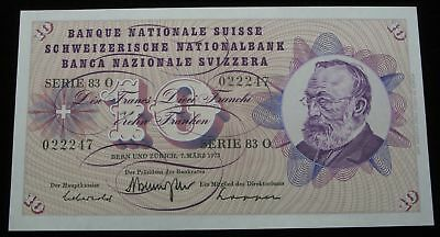 SWITZERLAND 10 Franken 7.3.1973 - Pick 45s