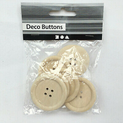 Wooden Buttons Untreated 6 Buttons Per Pack 40mm