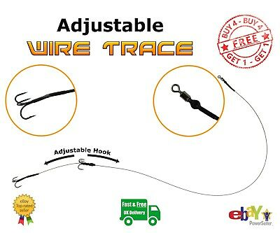 Pike Wire Trace Various Hook Sizes BUY 4 GET 1 FREE Predator & Sea Fishing Rigs