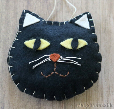 New Handcrafted Primitive Folk Gothic Felt BLACK CAT Kitten ORNAMENT HANGER