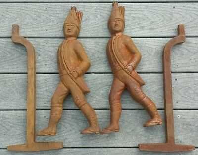 Pair Lot 2 Antique Figural Hessian Soldier People Fireplace Andirons Cast Iron