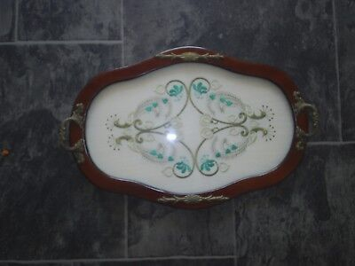 Antiques Wooden Tray-Embroidery