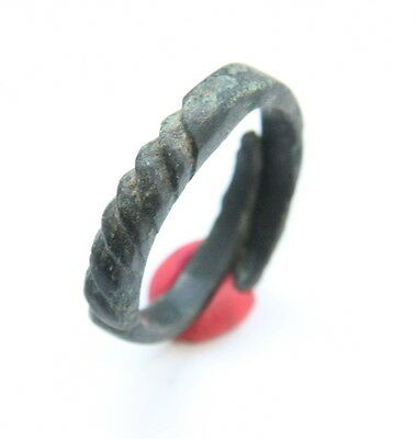Ancient Old Pseudo Twisted Bronze Finger Ring (FEB88)
