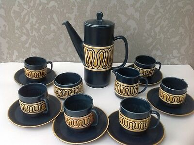 Vintage SylvaC Coffee Set in deep teal blue with cream mustard decoration