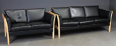 Danish black leather sofa set 3+2