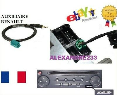 cable auxiliaire 3 5mm prise audio autoradio mp3 renault clio megane 2 aux eur 7 00 picclick fr. Black Bedroom Furniture Sets. Home Design Ideas