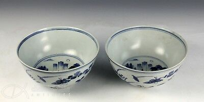 Nice Pair Antique Chinese Hatcher Cargo Blue White Porcelain Bowls W Relief