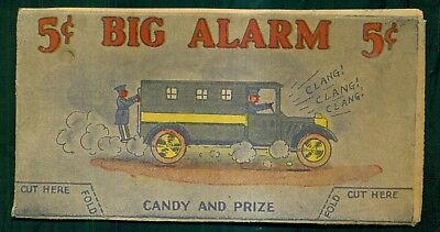 """1920's """"Big Alarm"""" Candy Box Top Paddy Wagon Stand-up"""