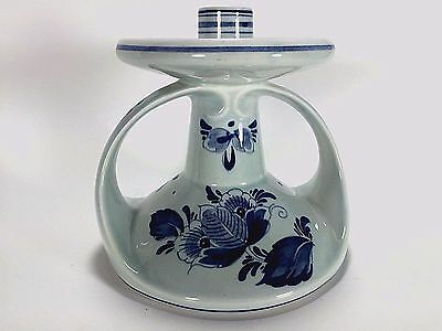 Delft Candle Holder Blue Hand Painted Single Candlestick Vintage Hand Crafted B