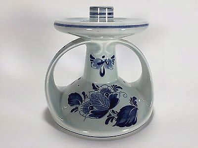 Delft Candle Holder Blue Hand Painted Single Candlestick Vintage Hand Crafted