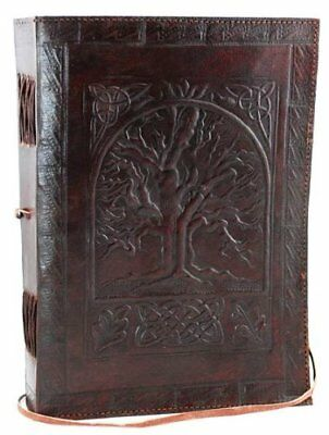 """Blank Book Journal Large Tree of Life PU Leather Diary 240 Pages 7""""x10"""" Notebook"""