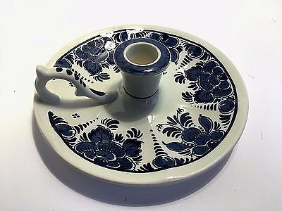 Delft Candle Holder Blue Hand Painted Pottery Single Handled Candlestick